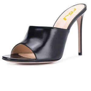 FSJ Black High Heel Sandal Open Toe Mules